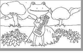 plansa de colorat broasca desene
